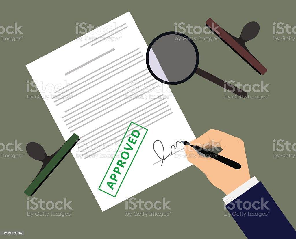 Document approval - illustrazione arte vettoriale
