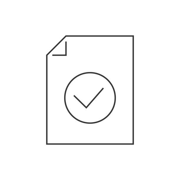 在白色背景上記錄已批准的行圖示向量藝術插圖