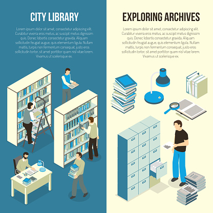 document archive library isometric vertical banners