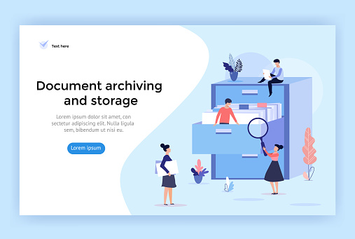Document archiving and storage concept illustration.