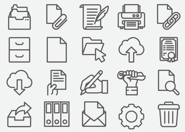 document business line icons - katalog stock illustrations