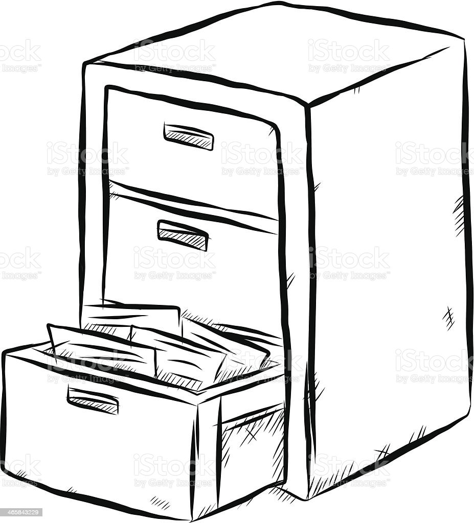 Document Cabinet Cartoon Stock Vector Art More Images Of Art Istock
