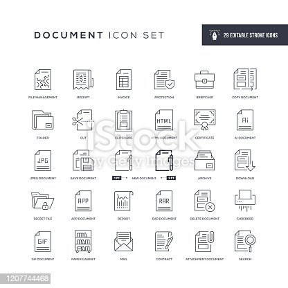 29 Document Icons - Editable Stroke - Easy to edit and customize - You can easily customize the stroke with