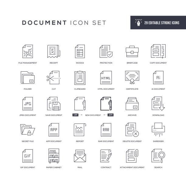 문서 편집 가능한 획 선 아이콘 - gif stock illustrations