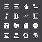 Document Editor Tool Icons - White Series | EPS10