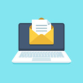 Document email on notebook. Mail letter with documents for signing on computer screen. Inbox notification vector illustration