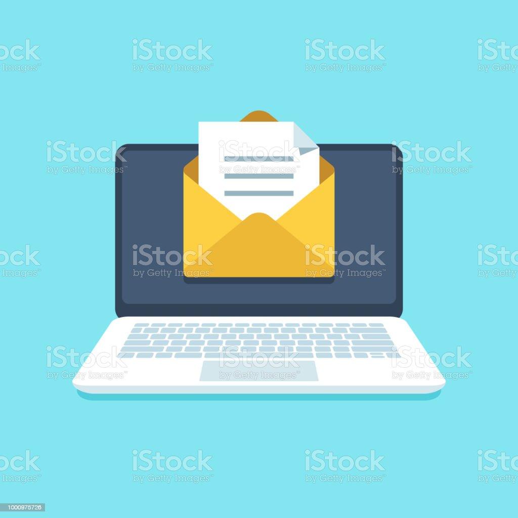 Documento de e-mail no notebook. Carta de correio com documentos para assinatura na tela do computador. Ilustração em vetor notificação caixa de entrada - ilustração de arte em vetor