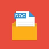 *** Document File Format Flat Icon. Different File Formats Vector Illustration Isolated o Colored Background. File in a Folder