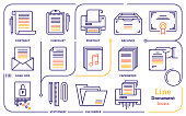 Line icon vector illustrations of document file formats