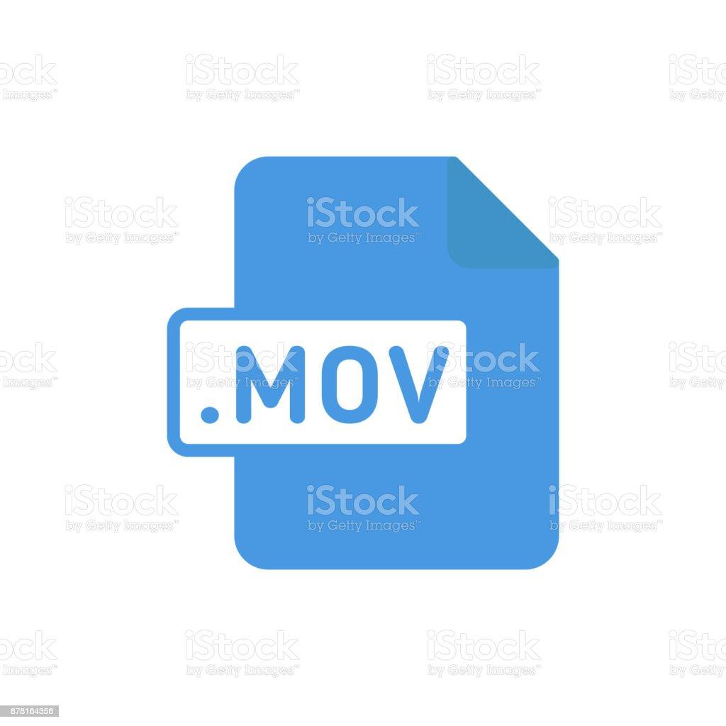 Document file type flat MOV vector art illustration