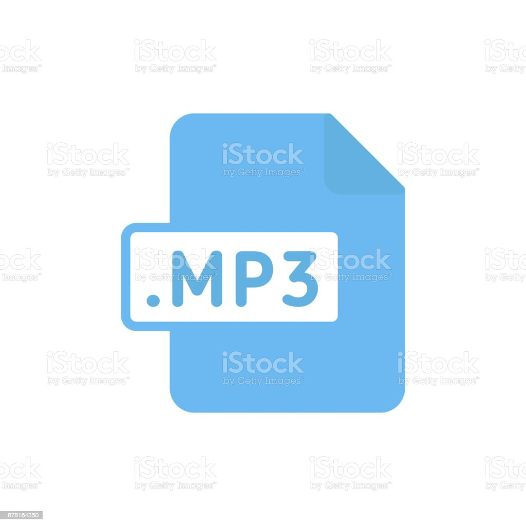 Document file type flat MP3 vector art illustration