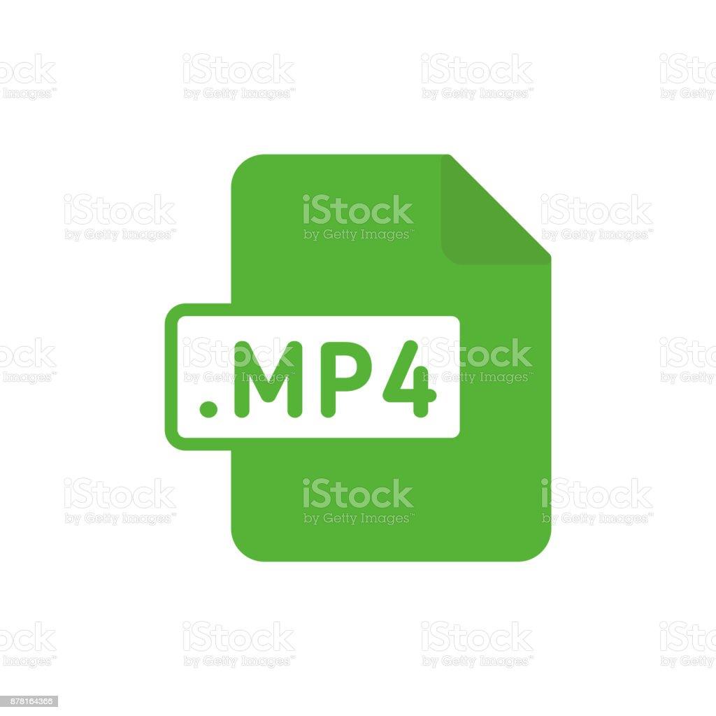Document file type flat MP4 vector art illustration