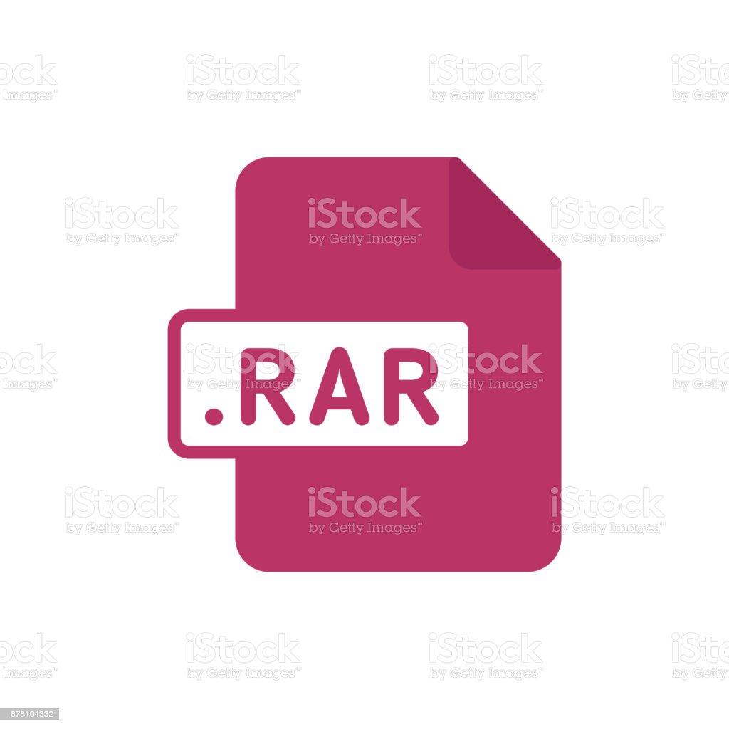 Document file type flat RAR vector art illustration