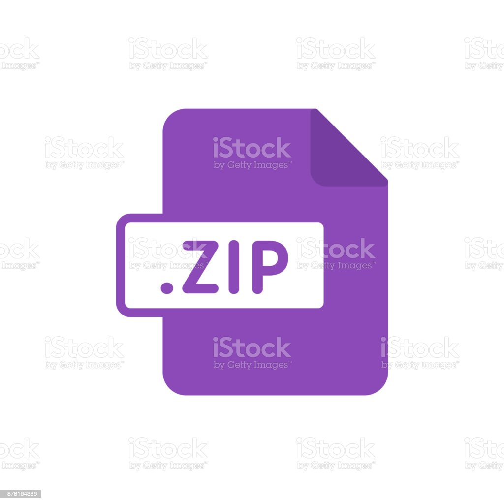 Document file type flat ZIP vector art illustration