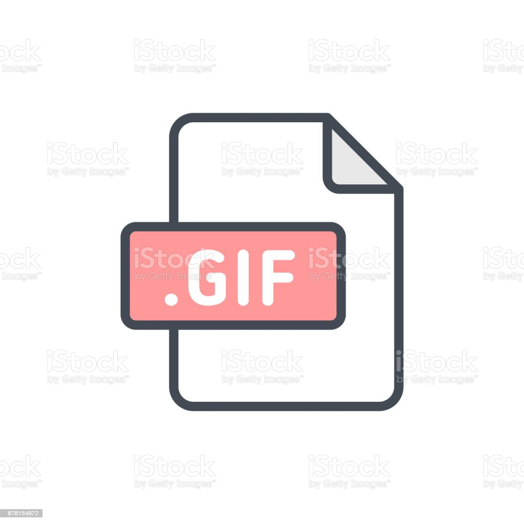 Document files colored icon gif vector art illustration