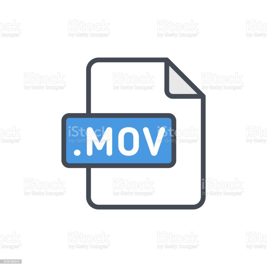 Document files colored icon mov vector art illustration