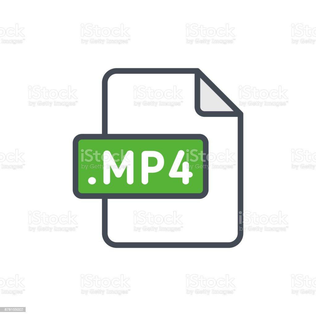 Document files colored icon mp4 vector art illustration