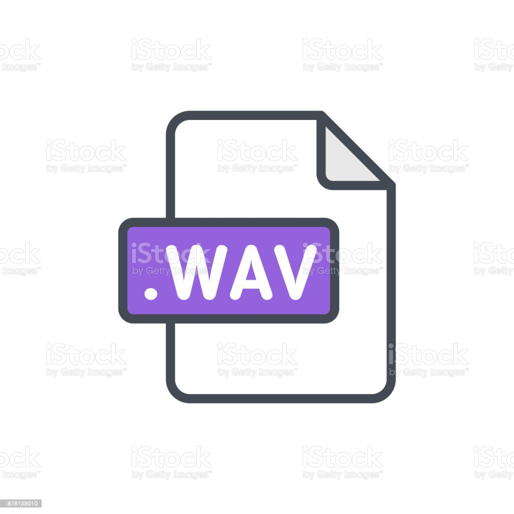 Document files colored icon wav vector art illustration