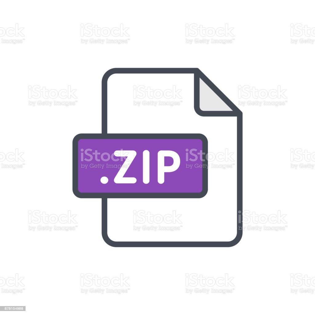 Document files colored icon zip vector art illustration