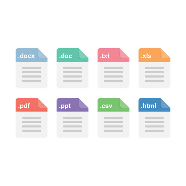 Document files format icons set Document files format icons set. Vector eps single word stock illustrations