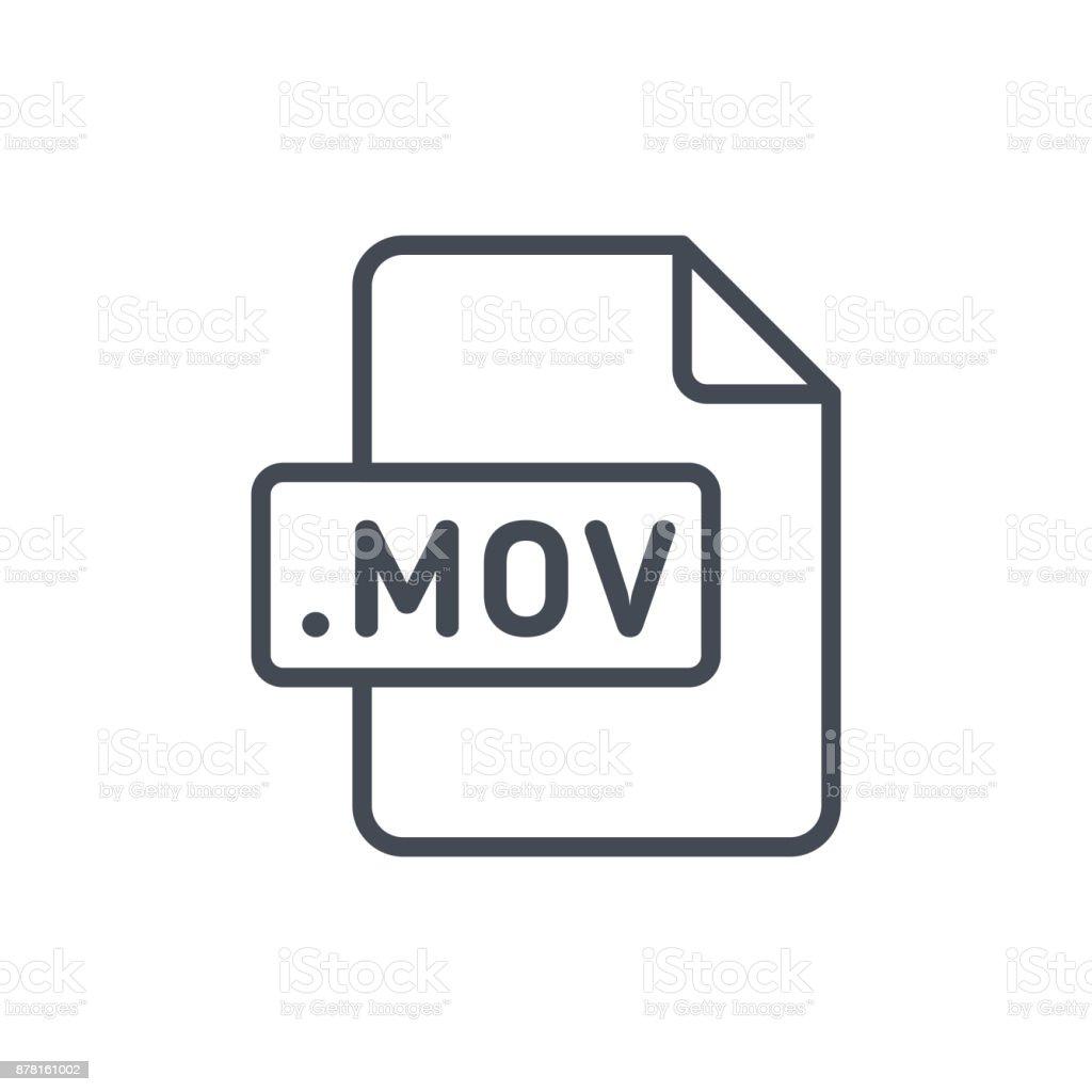 Document Files line vector MOV vector art illustration