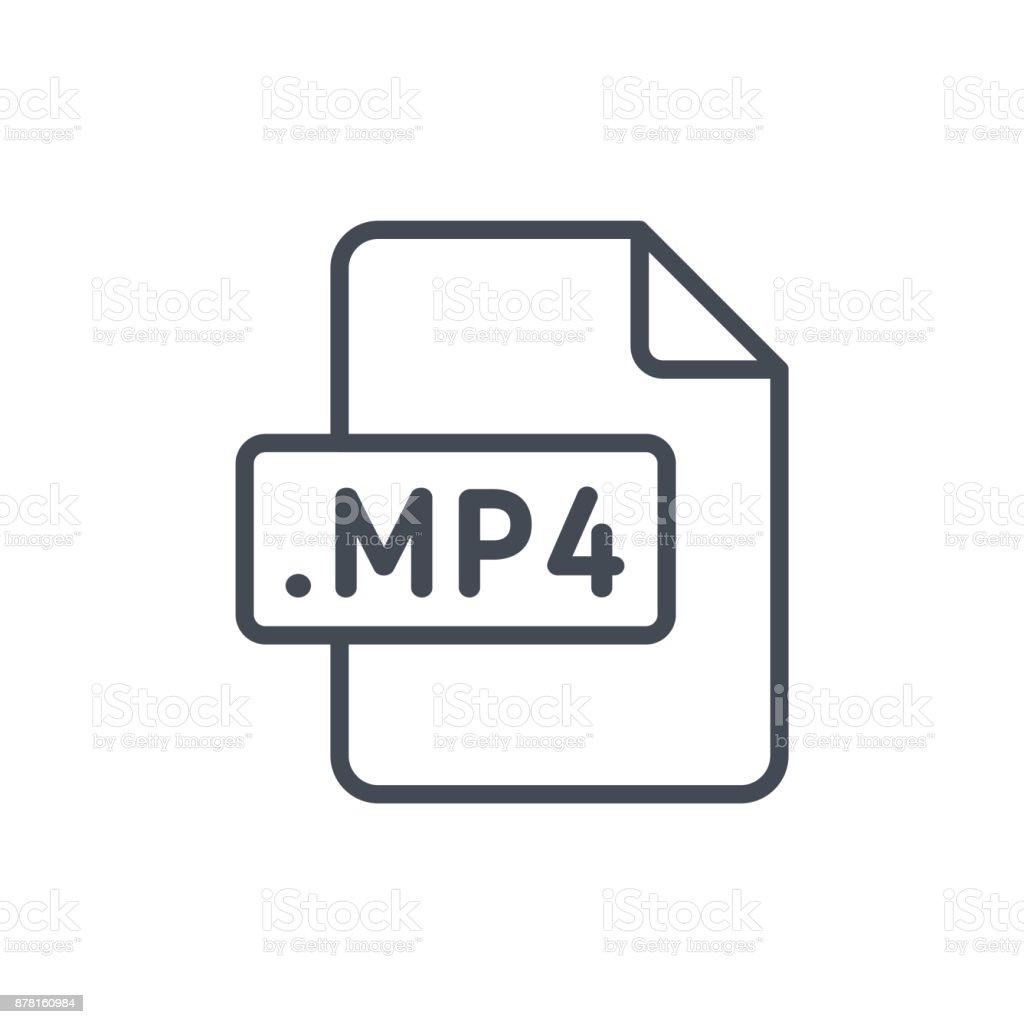 Document Files line vector MP4 vector art illustration
