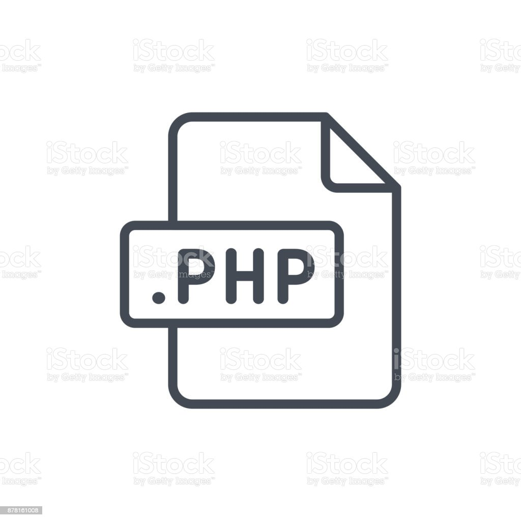 Document Files line vector PHP vector art illustration