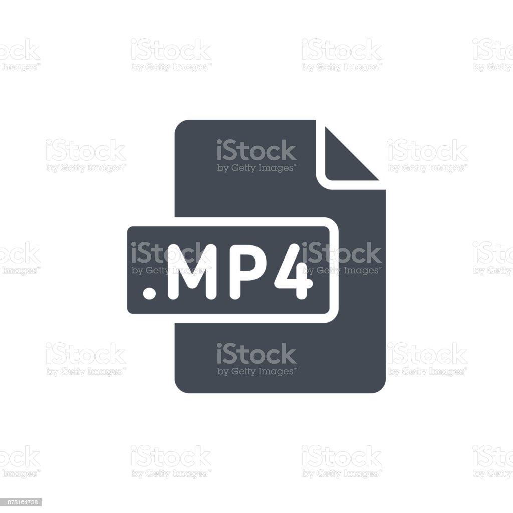 Document Files silhouette icon MP4 vector art illustration