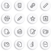 Document flat contour icons on white buttons.