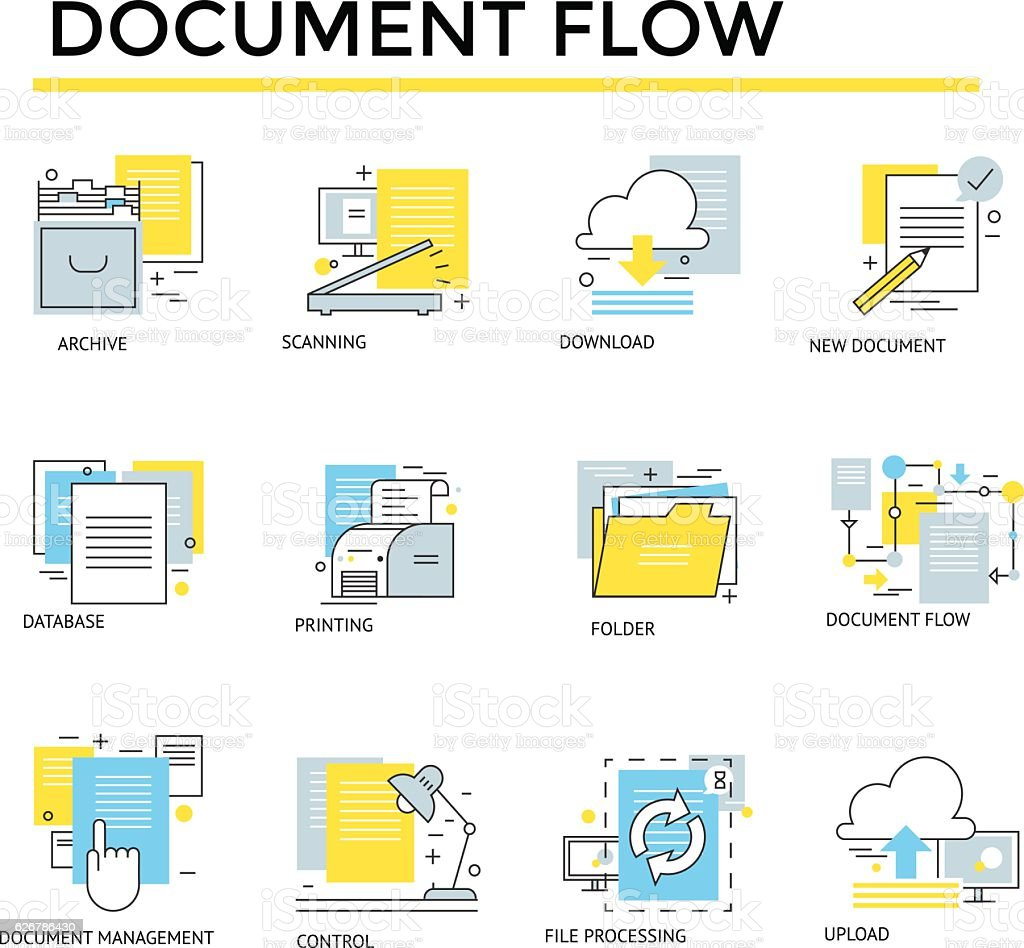 Document flow icons. vector art illustration