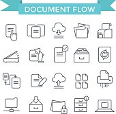 Document flow icons.