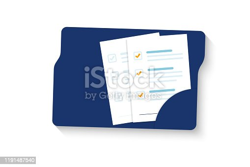 istock Document. Folder with document, stamp and text. Stack of agreements document with signature and approval stamp. Contract papers 1191487540