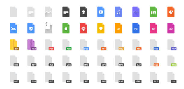 50 Document formats vector illustration icon set. Included the icons as file, types, kind of files and more. 50 Document formats vector illustration icon set. Included the icons as file, types, kind of files and more. single word stock illustrations