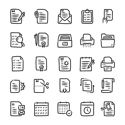 Document Hand Drawn Line Icons
