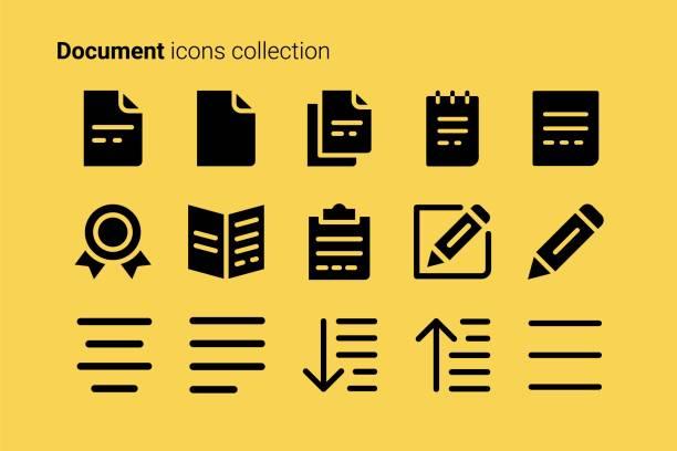 ilustraciones, imágenes clip art, dibujos animados e iconos de stock de colección de iconos de documento - sólido