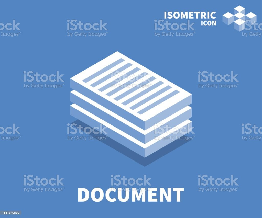 Document icon, illustration, vector symbol in flat isometric 3D style isolated on color background. vector art illustration
