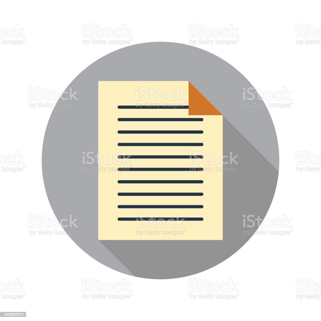 Document icon in flat style on circle