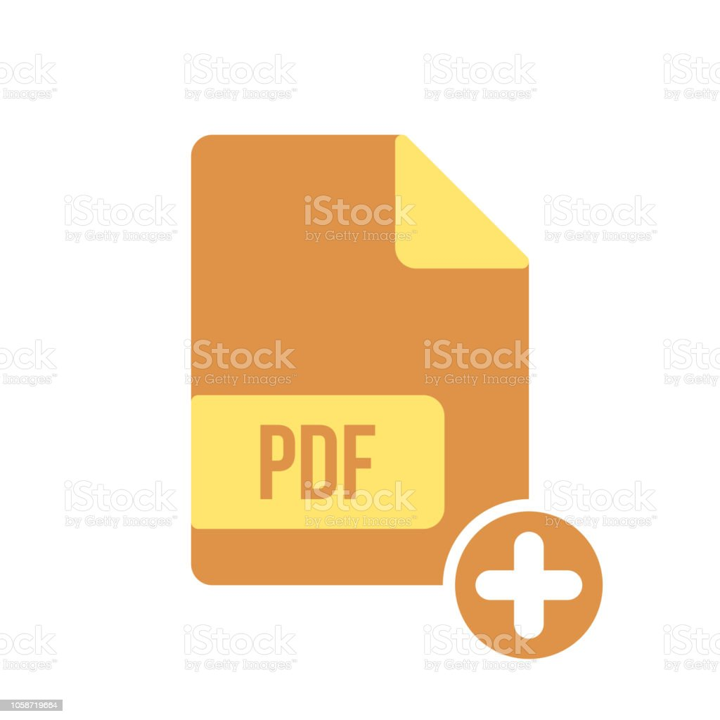 Pdf Document Icon Pdf Extension File Format Icon With Add