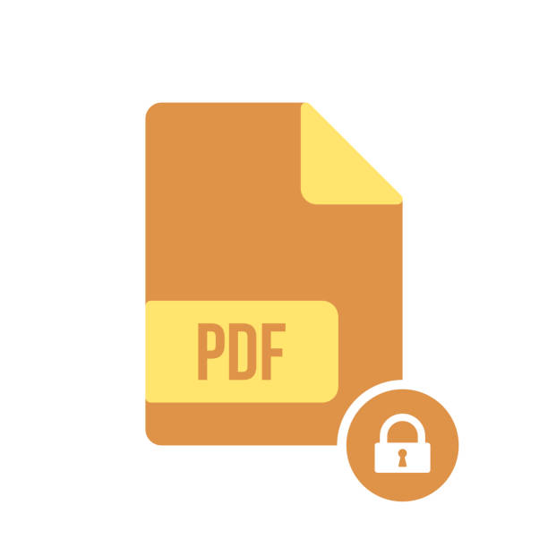 PDF document icon, pdf extension, file format icon with padlock sign. PDF document icon and security, protection, privacy symbol vector art illustration