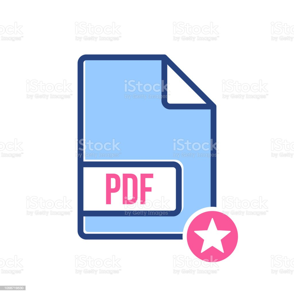 Pdf Document Icon Pdf Extension File Format Icon With Star