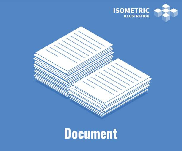 Document icon. Pile of documents, stack of business paper. Vector 3D illustration isolated on blue background. Document icon. Pile of documents, stack of business paper. Vector 3D illustration isolated on blue background. stack stock illustrations