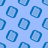 Document Icon seamless pattern. Blue symbol on a blue background.