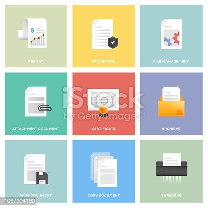 Document Icon Set Flat Design