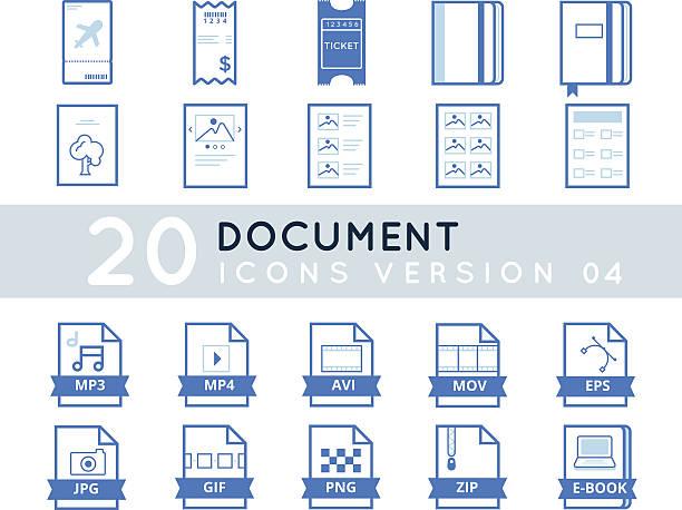 dokument-symbol set - fotografieanleitungen stock-grafiken, -clipart, -cartoons und -symbole