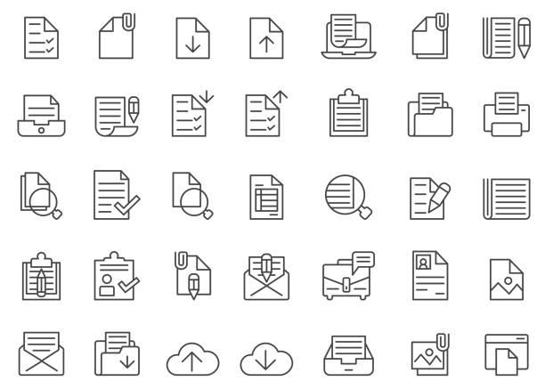 document icon set - formularz dokument stock illustrations