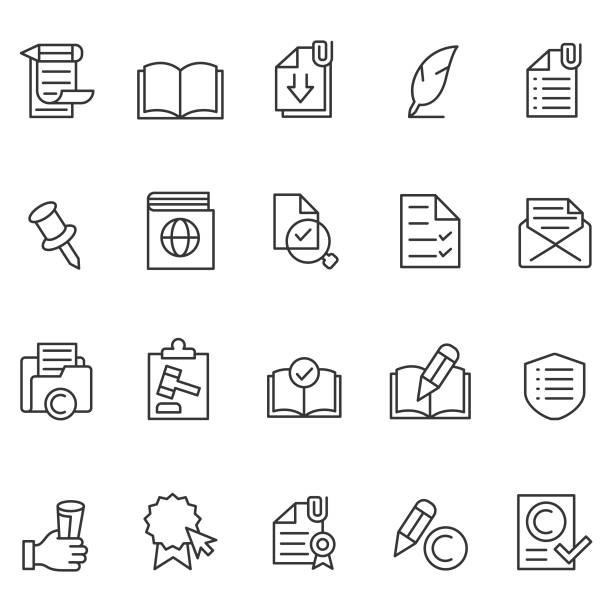stockillustraties, clipart, cartoons en iconen met pictogram documentenset - portfolio tas
