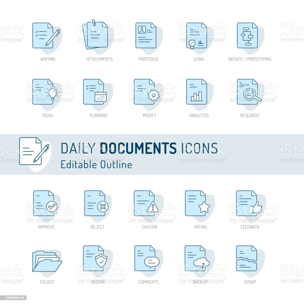 Document icon, Thin line icons, Assessment, Contract, legal,...