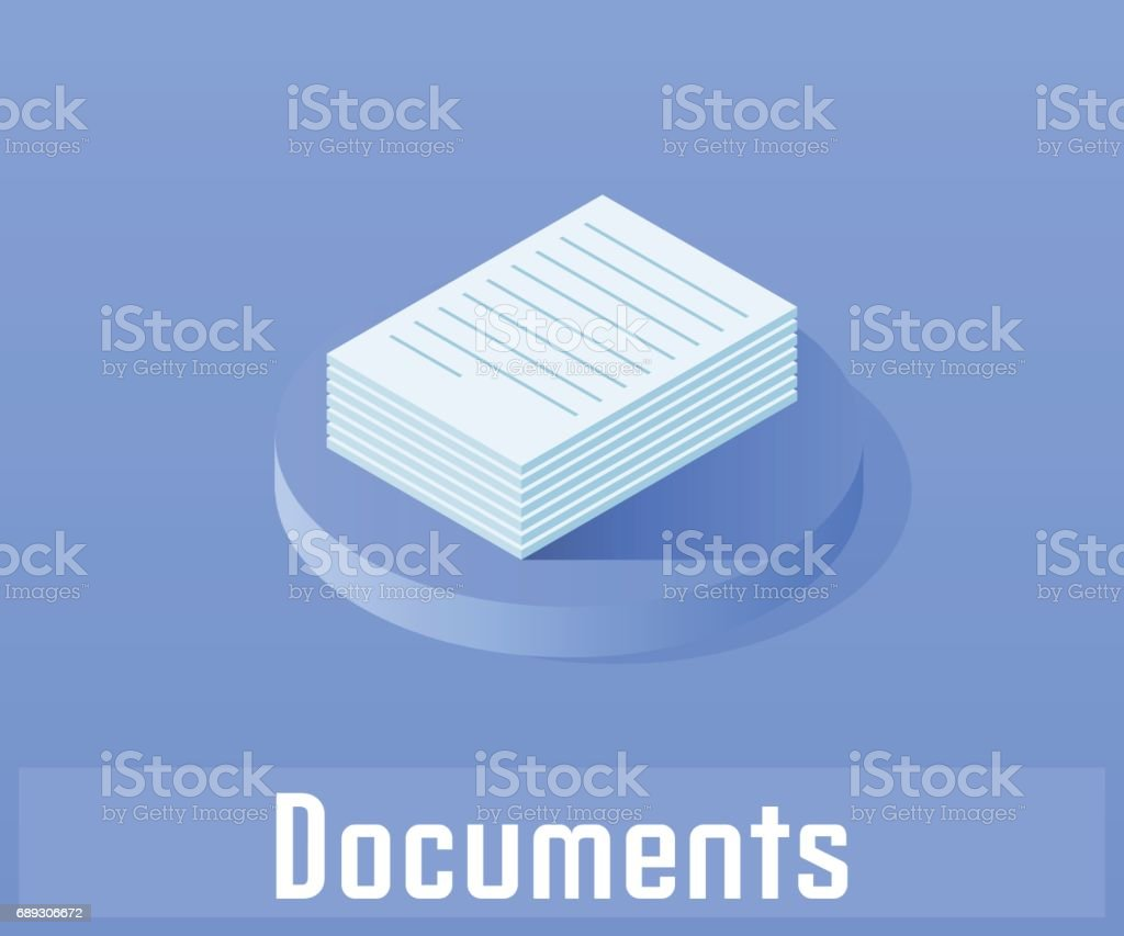 Document icon, vector symbol in flat isometric style isolated on color background. vector art illustration