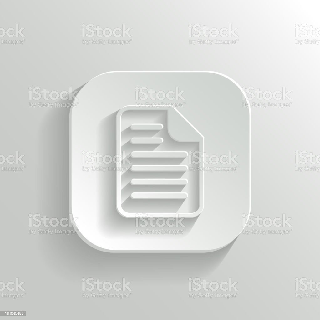Document icon - vector white app button royalty-free document icon vector white app button stock vector art & more images of abstract
