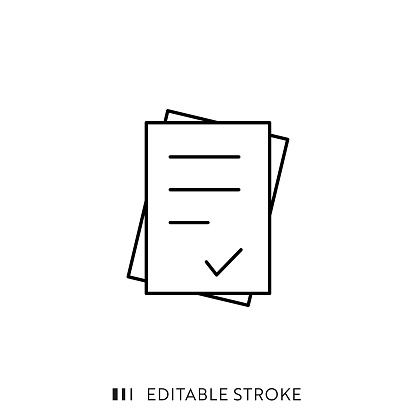 Document Icon with Editable Stroke and Pixel Perfect.